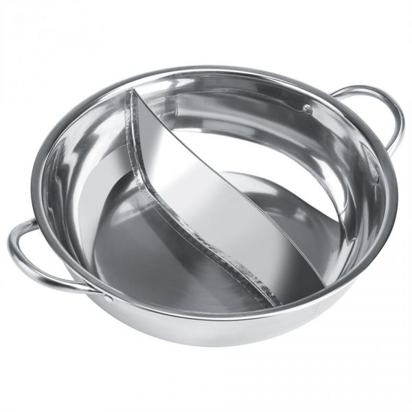 STAINLESS STEEL 2 COMPARTMENT FONDUE PAN 26 CM